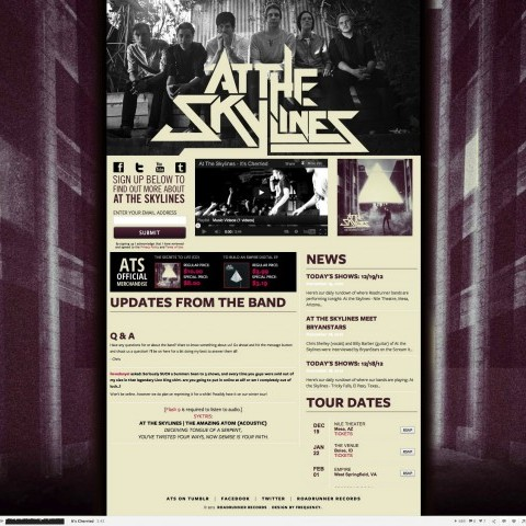 At the Skylines - Band Landing Page Design