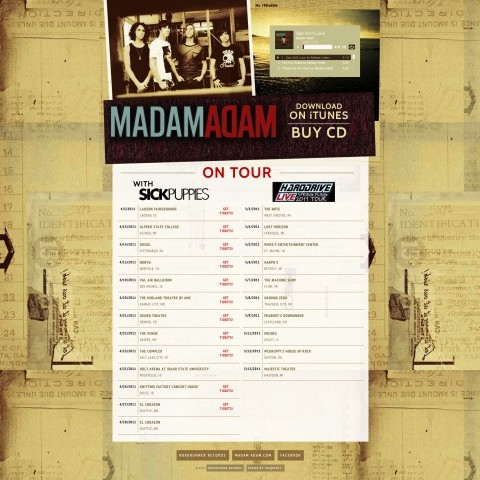 Madam Adam - Band Landing Page