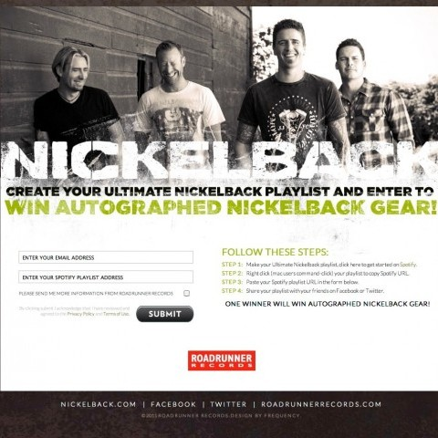 Nickelback - Spotify Competition Page