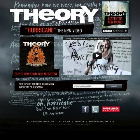 Theory of A Deadman - Video Landing Page